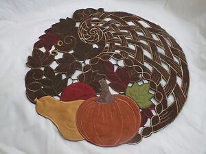 2pcs-Thanksgiving-Embroidered-Pumpkin-Cut-Work-Vines-Placemat-Coffee-15-5-034-PLM26