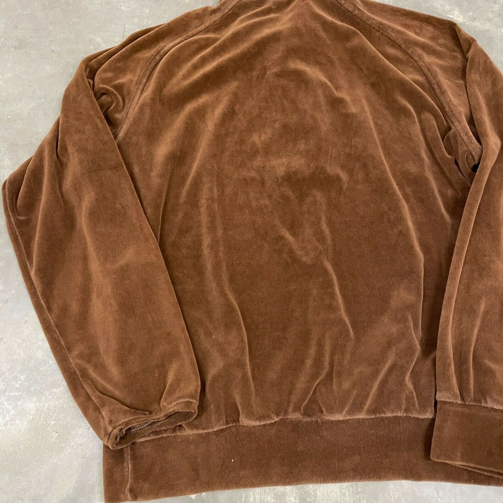 70s VTG Brown Velour Polo Pullover Sweater Cool X… - image 9