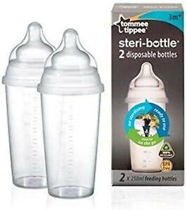 Tommee Tippee Steri Bottle 2 x 250ml feeding bottles disposable bottles 3m+