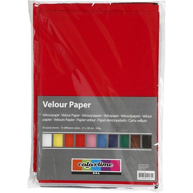 140 g Velourpapier 50Bl. A4 21x30 cm sortierte Farben