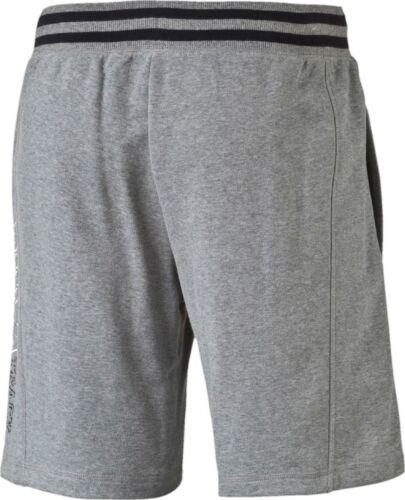 New Mens PUMA Cotton Sweat Shorts Pants Sports Gym Summer Knee Length Grey Black