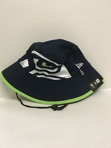 NFL Seattle Seahawks Men s Navy New Era Fearless Fan Bucket Hat  ae0ebecc32c3