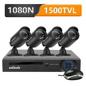 Zclever 8CH CCTV Security Camera System 1080P HDMI DVR W/ 4 Outdoor Cameras Kit