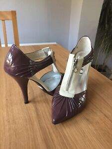 Ladies-Ravel-High-Heel-Shoes-Size-6-Purple-Mauve-Cream