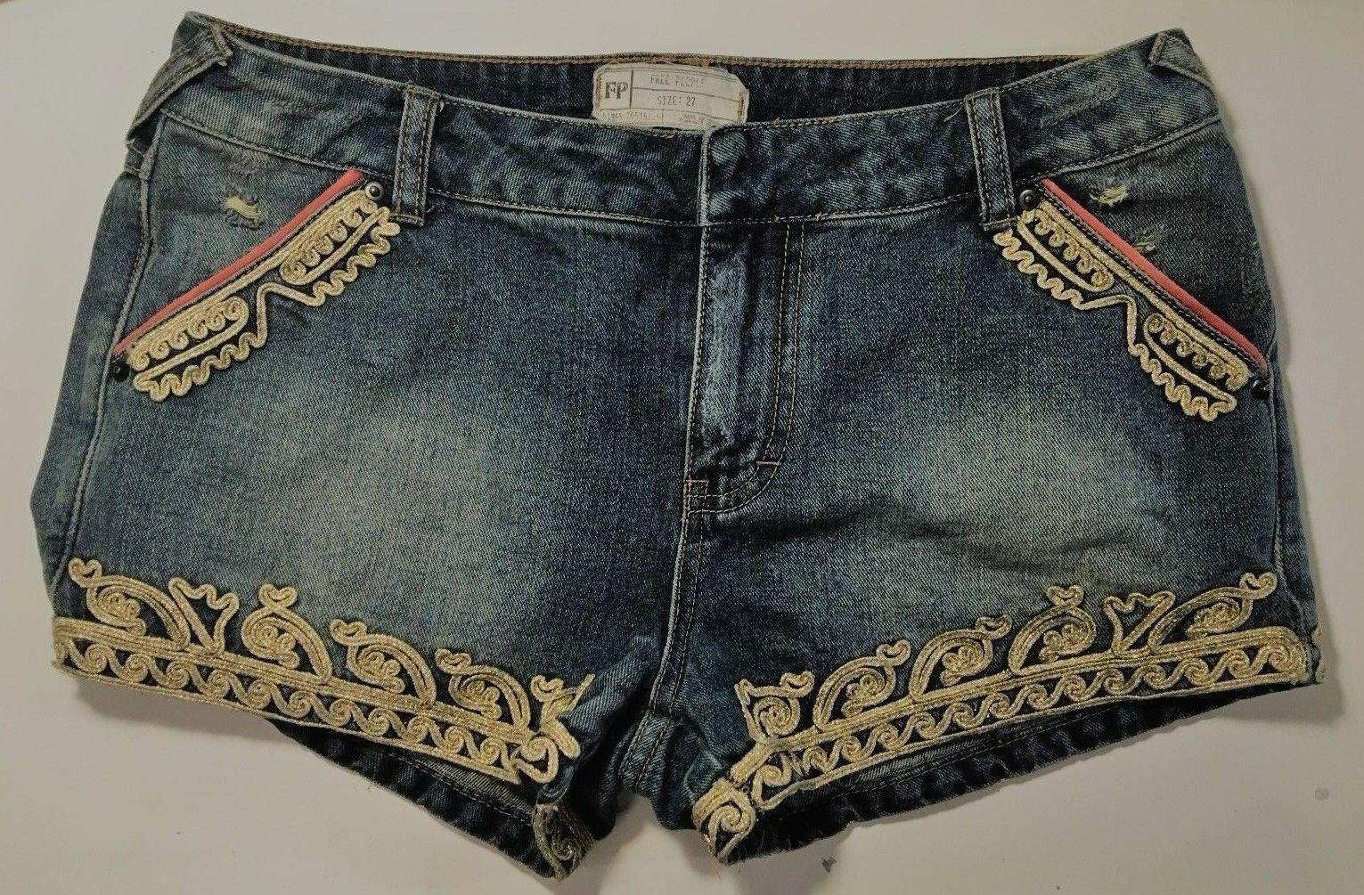 Free People Denim Jean Shorts gold Quills Embroidered Patch Women 27