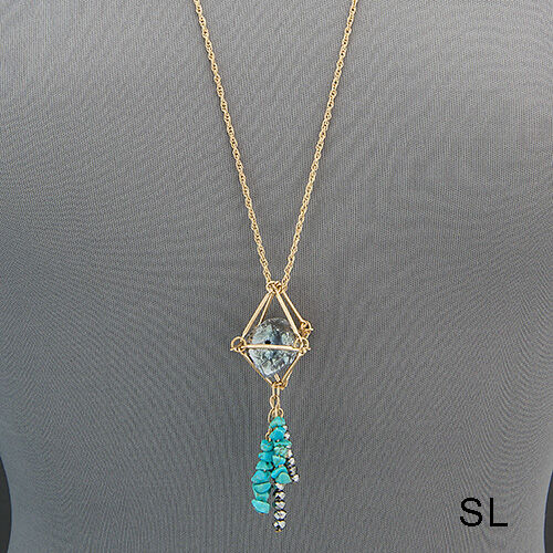 Long Gold Chain Silver Metallic Stone Turquoise Bead Tassels Pendant Necklace