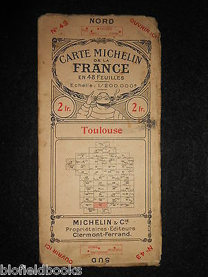 Early French Michelin Road Map of Toulouse c1920 (Feuille/Carte de la France)