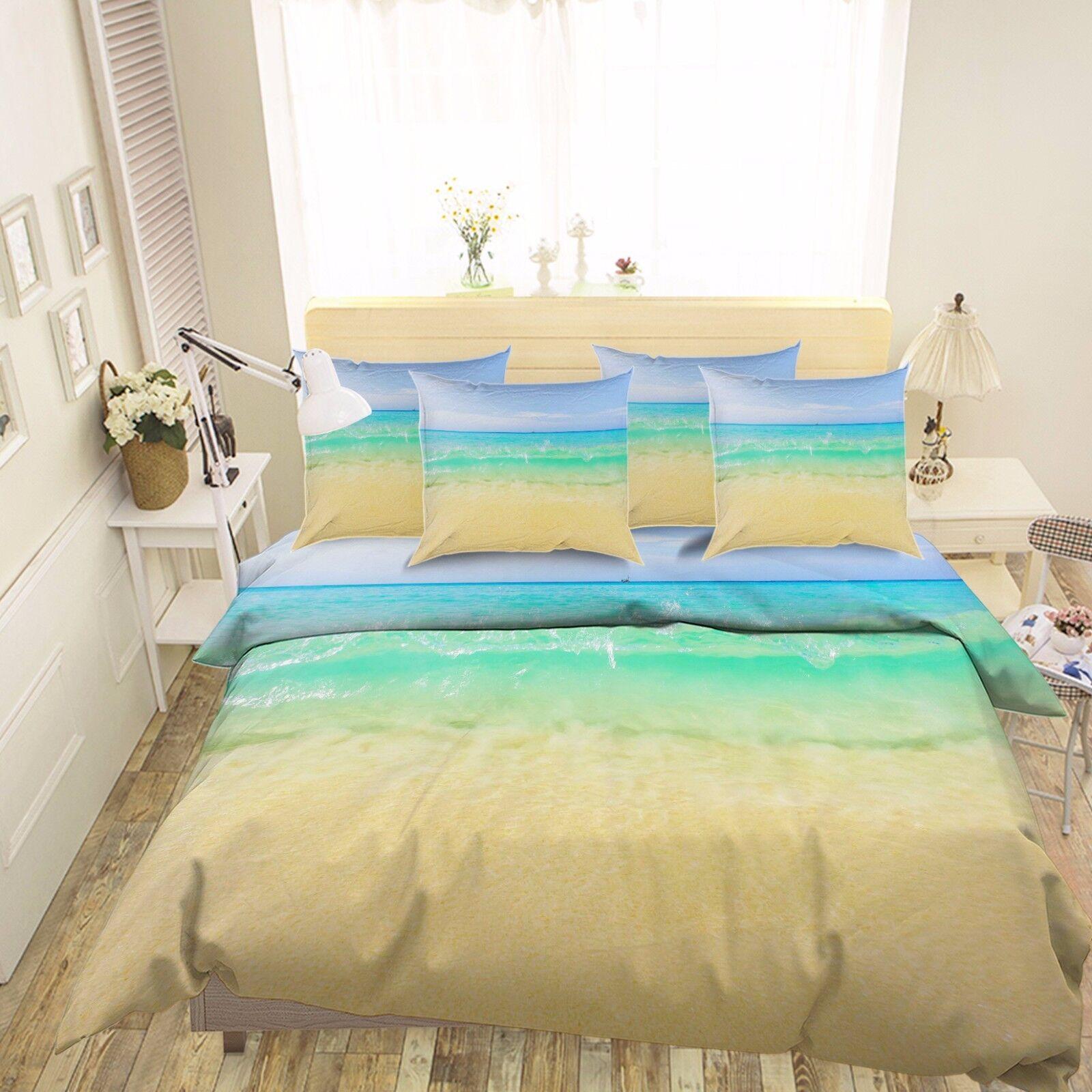 3D Beautiful Beach 7 Bed Pillowcases Quilt Duvet Cover Set Single Queen AU Lemon