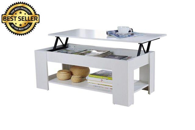 Lift Top Coffee Table with Storage Shelf Espresso Living Room Walnut Oak White