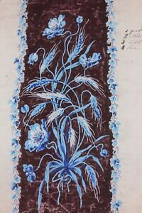 Antique-French-19thC-Hand-Painted-Gouache-Of-Blue-Floral-amp-Wheat-Design-Artwork