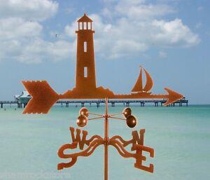 Lighthouse-and-Sailboat-Weathervane-Sailing-Nautical-Vane-w-Choice-of-Mount
