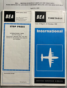 England-BEA-Airways-1959-Brochure-Timetable-With-Service-Schedule