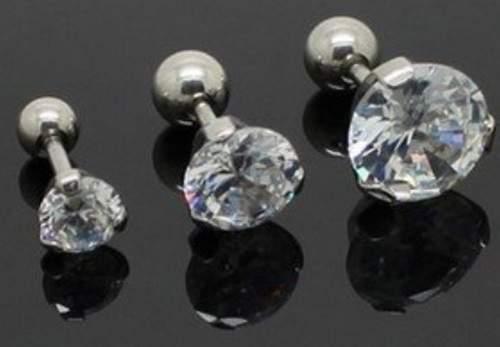 1 Tragus Bar Ring Helix Cartilage Ear Stud 16g SOLITAIRE gem 5mm 7mm 8mm *
