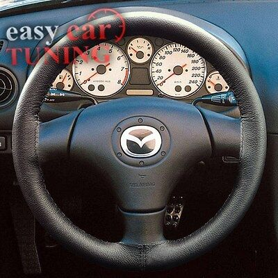 FOR  MAZDA MX5 MIATA 1998-2005 BLACK REAL GENUINE LEATHER STEERING WHEEL COVER