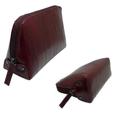 Luxury Genuine Eel skin Leather Cosmetic Makeup Case Bag Wallet Pouch Burgundy