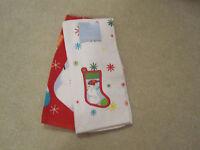 St Nicholas Square Set Of 2 Kitchen Hand Towel Christmas Snowman Stocking