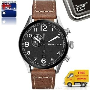 New-Michael-Kors-Mens-Watch-Hangar-Silver-Black-Dial-Brown-Leather-Strap-MK7068