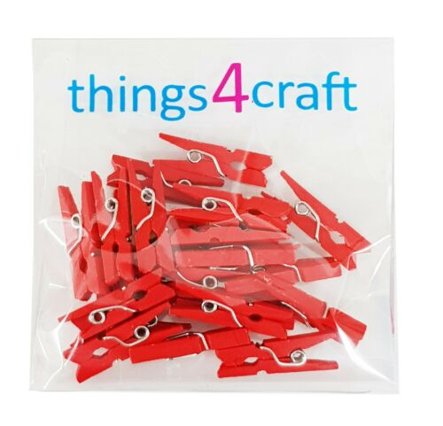 Mini Pegs 2.5cm Red Blue Pink Yellow White Wooden Very Small Peg UK Supplier