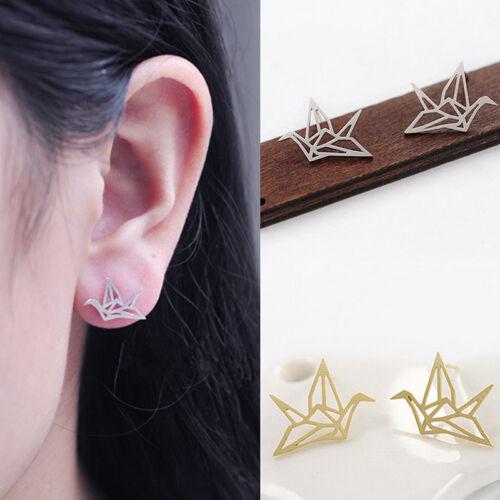 Lovely Origami Crane Stud Earrings Cute Hollowed Ear Studs Chic Bird Earrings Nz Innovatis Suisse Ch
