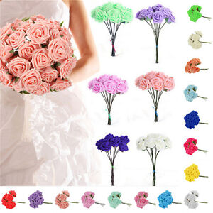 10-100-Heads-Foam-Roses-Artificial-Flower-Colourfast-Wedding-Bride-Bouquet-Party