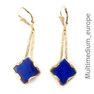 Gold-Ohrringe-585-14ct-Art-Deco-Lapis-Lazuli-Gelbgold-14k-earrings