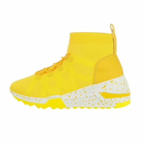 Sneakers High FREIZEITSCHUHE DAMENSCHUHE DESIGNER NEU Gr 38 Gelb 3086