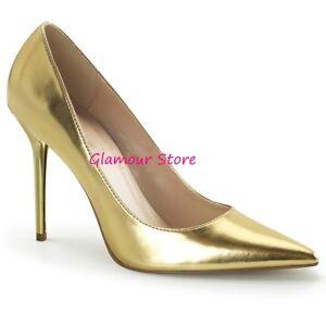 best sneakers b6e9d adc61 Dettagli su Sexy DECOLTE' ORO a punta tacco 10 dal 35 al 46 scarpe GLAMOUR  fashion