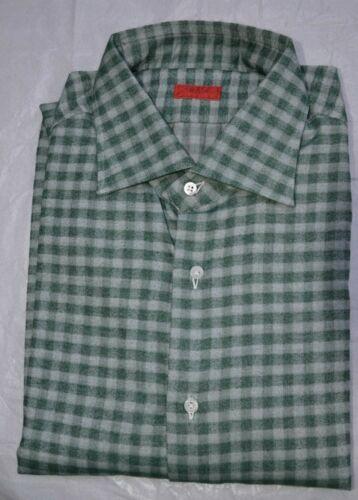 17 blanco 1 44 Isaia algodón Nwt Camisa cuadros de Us Eu a Tamaño verde en 2 vfWCWc6