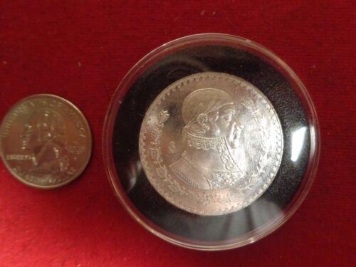 1965 Mexico one Peso coin in black Airtite  10/% silver Gems