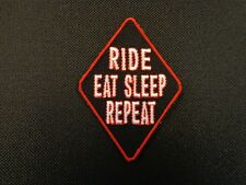 """SCREW HOUSEWORK LET/'S RIDE IRON-ON SEW-ON EMBROIDERED PATCH  4/"""" X 1.5/"""""""