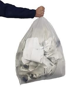 "50 Clear Bin Bag Liners 80 Gauge Rubbish Refuse Sacks 20Kg Capacity 18""x29""x38"""