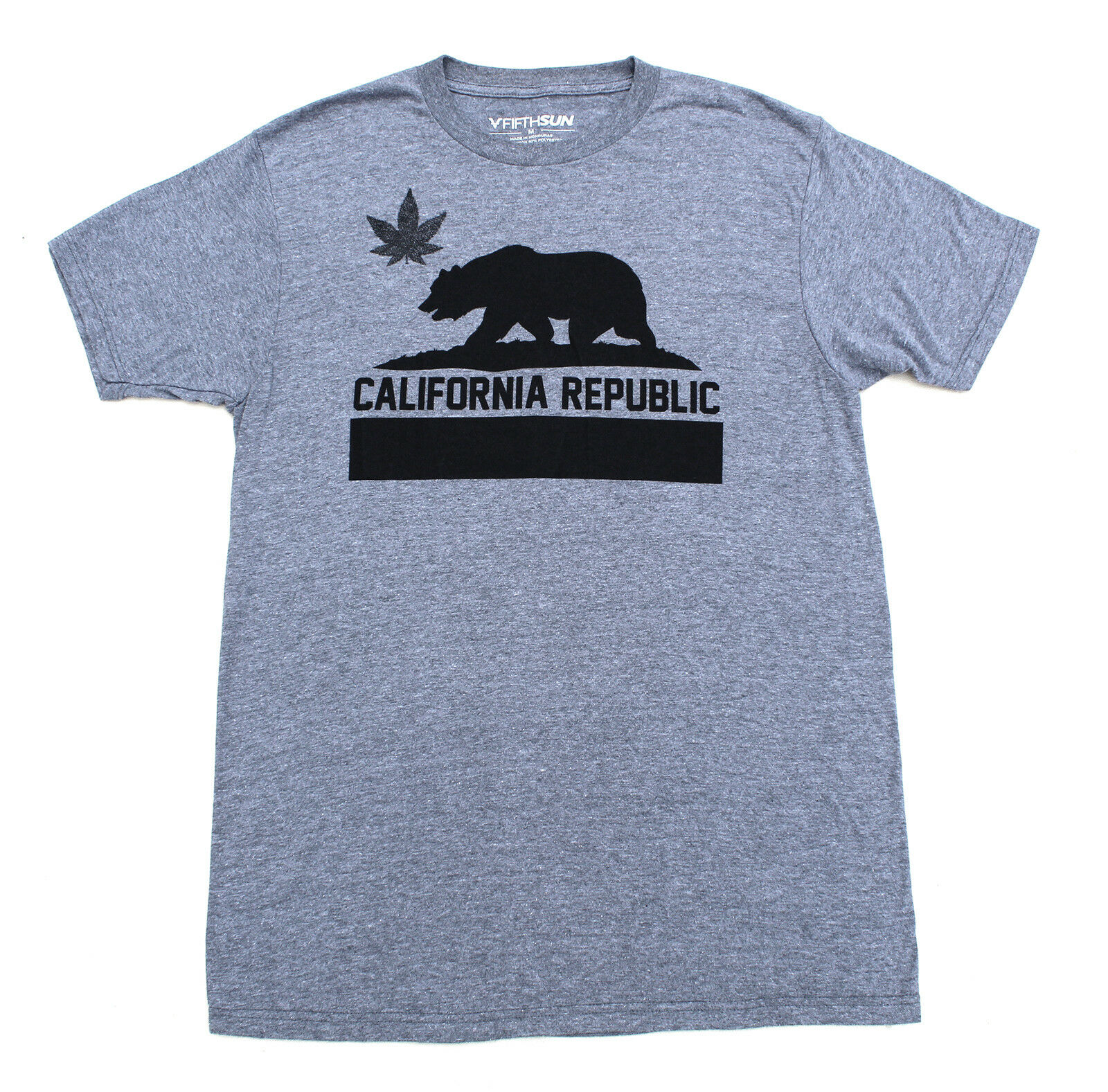 FIFTH SUN Tee Cotton T-Shirt Marijuana California Republic Street Style 420 Mens
