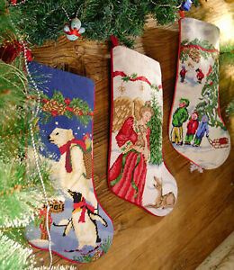 Fine-Hand-Crafted-Needlepoint-Christmas-Stocking-Puppy-Fairy-Happy-Kids