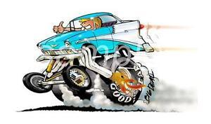 Dave Deal Bel Air Hot Rod Cartoon T-Shirt Automotive Art #4207