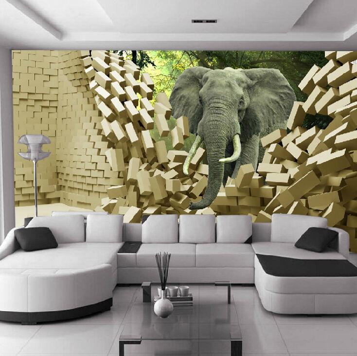 3D Elephant Brique Photo Papier Peint en Autocollant Murale Plafond Chambre Art