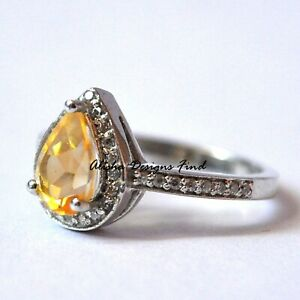 Natural Citrine Faceted Pear Gemstone 925 Sterling Silver Women Solitaire Ring