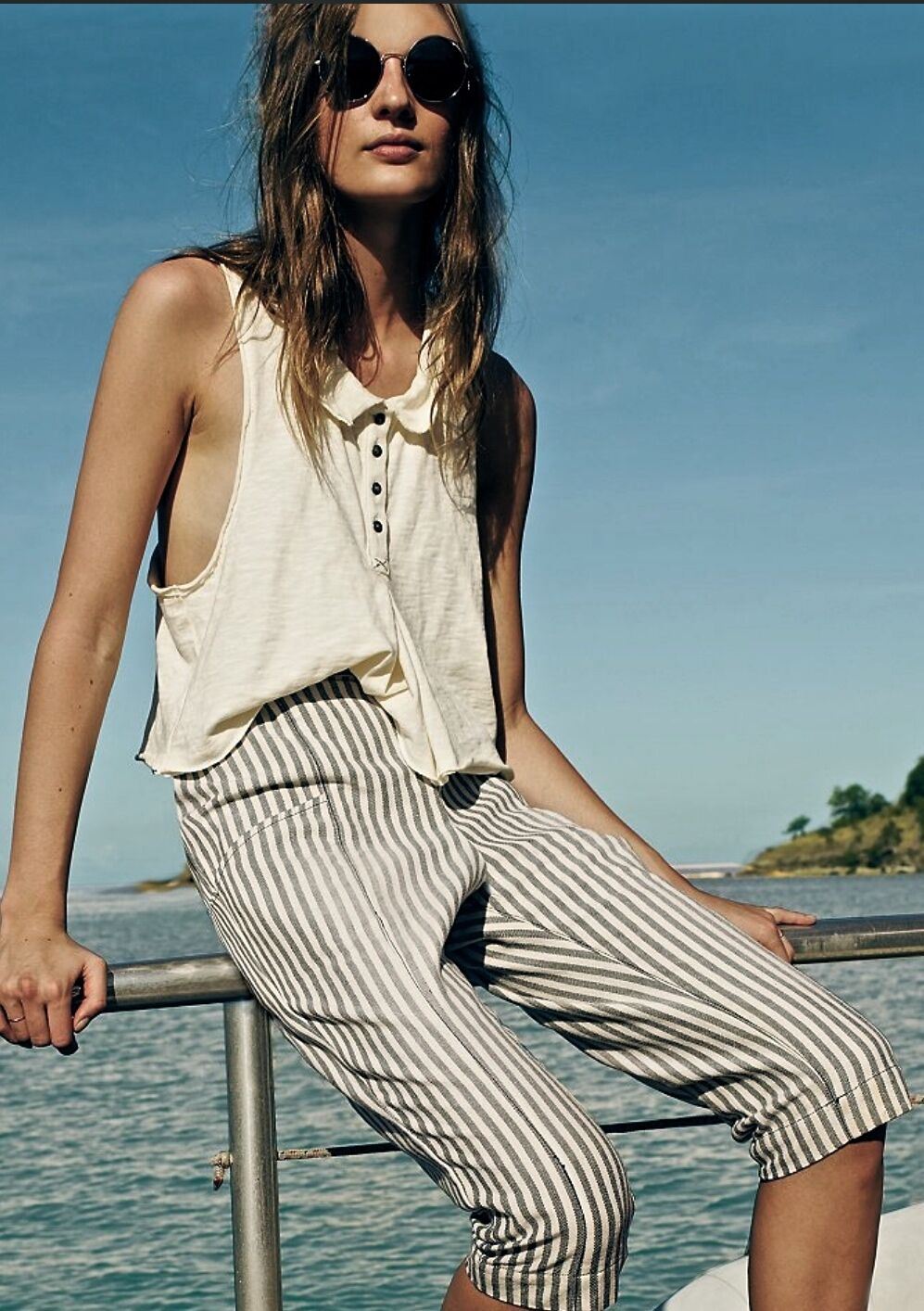 NEW Free People navy white stripe Bowside Skinny Harem Pants S  128