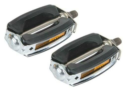 1//2 inch Bicycle Parts Lowrider Bike Pedals Black with Chrome Krate Rubber