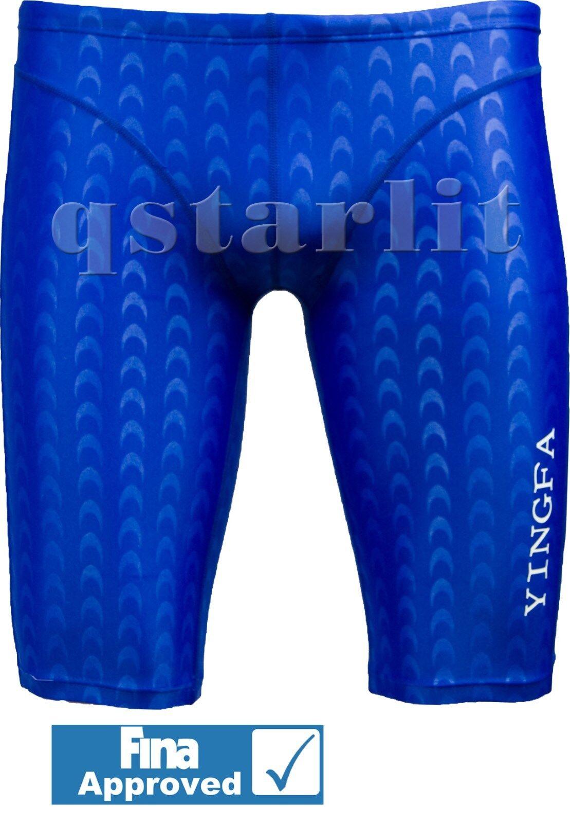 FINA Boys Men Male Racing Competition Fast Skin Swimwear Jammer Sz 20-32 bluee