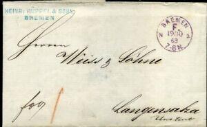 413872) Franco-cachet Viol. K1 Brème F. 1868, Botenlohn-afficher Le Titre D'origine SuppléMent éNergie Vitale Et Nourrir Yin