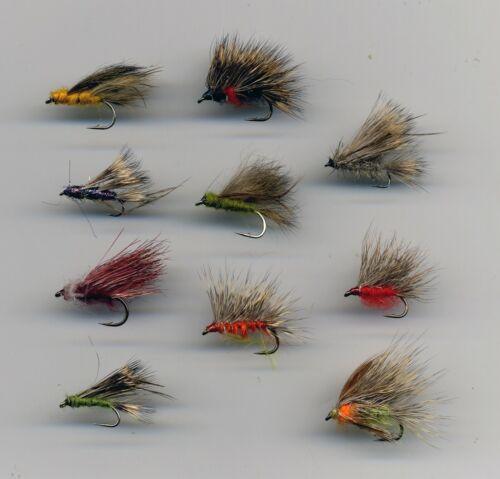 12 /& 14 Assorted size 10 Trout Flies: Sedge Hogs x 10 code 079