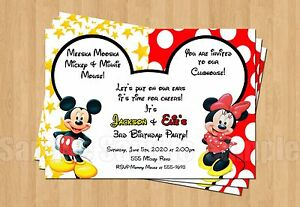 Details About 10 Minnie Mickey Mouse Twins Birthday Party Invitations Personalized Red Yellow