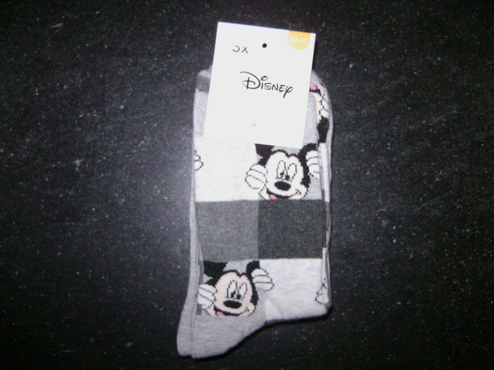 3 Paar Socken, Gr. 39-42, Micky Maus/Minnie Maus, Disney, Grau, NEU !