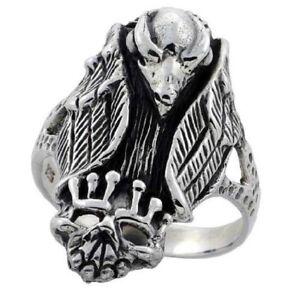 acquista per ufficiale aspetto dettagliato la moda più votata Dettagli su Argento Sterling Avvoltoio con con Corona Teschio Motociclista  Anello