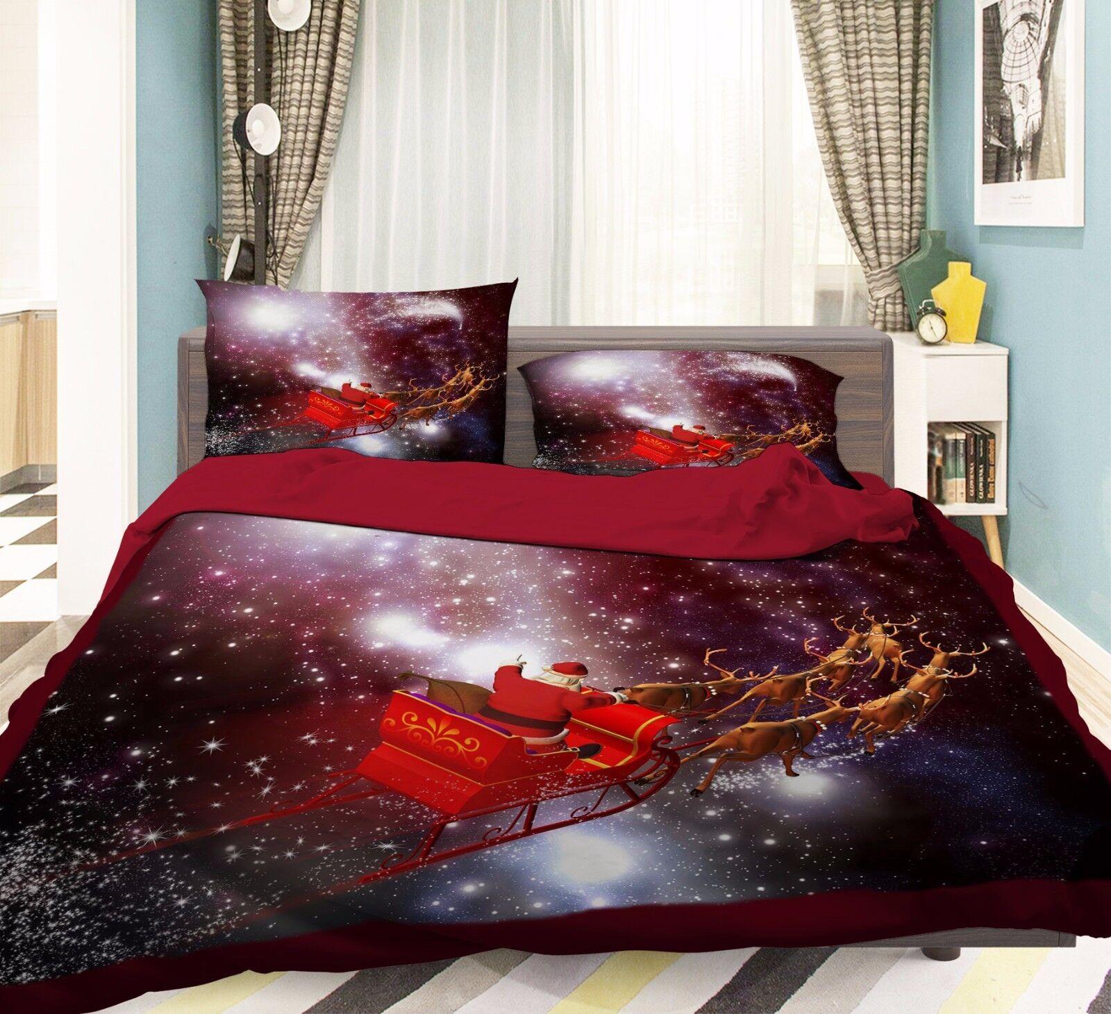 3D Snow Xmas 755 Bed Pillowcases Quilt Duvet Cover Set Single Queen UK Summer