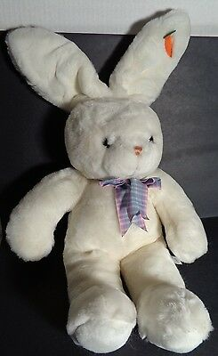 "Chosun 18"" Soft Plush White Easter Bunny Rabbit Carrot Ear Plaid Neck Bow"