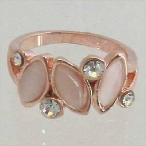 Rose-Gold-Ring-Ladies-Fashion-Jewelry-3-Pink-Stones-Austrian-Crystals-Gift-New