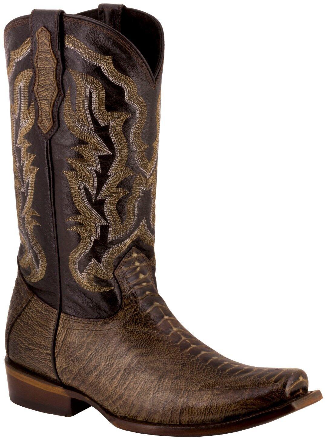 Uomo Genuine Pelle Brown Print Ostrich Leg Print Brown Rodeo Cowboy Stivali Square