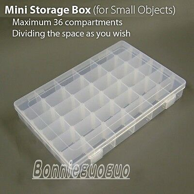 Small 36 Slots Storage Mini Box / Compartments Adjustable Organiser Plastic Case