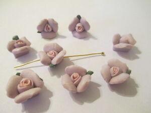 50 Porcelaine Lavande Et Rose 12 Mm Fleur Perles Avec Trou & Feuilles A2
